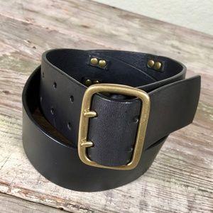 Gap leather belt double prong brass buckle studs